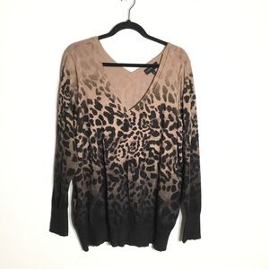 Lane Bryant Animal Print Vneck Sweater Black Tan
